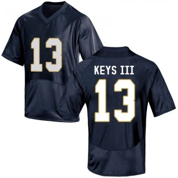 Men's Lawrence Keys III Notre Dame Fighting Irish Under Armour Game Navy Blue Football College Jersey
