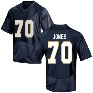 Men's Luke Jones Notre Dame Fighting Irish Under Armour Replica Navy Blue Football College Jersey