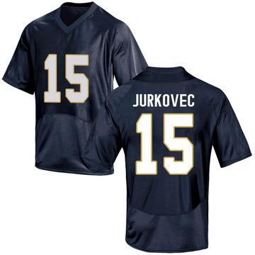 Men's Phil Jurkovec Notre Dame Fighting Irish Under Armour Replica Navy Blue Football College Jersey