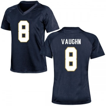Women's Donte Vaughn Notre Dame Fighting Irish Under Armour Replica Navy Blue Football College Jersey