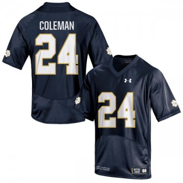 Women's Nick Coleman Notre Dame Fighting Irish Under Armour Replica Navy Blue Football Jersey -
