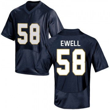 Youth Darnell Ewell Notre Dame Fighting Irish Under Armour Game Navy Blue Football College Jersey